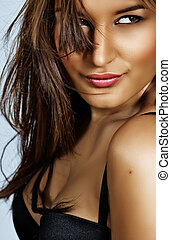 smiling woman with long hair - happy beautiful latin woman...