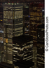 Bussiness buildings at night in Toronto, Canada
