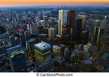 Toronto cityscape at dusk - aerial view