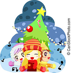 kids sing a christmas song - illustration of kids sing a...