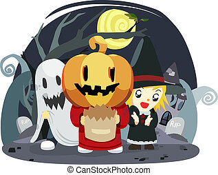 halloween kids trick or treat - illustration of halloween...