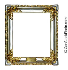antique frame - gold antique frame isolated on white...