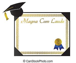 Magna Cum Laude College Diploma with cap and tassel