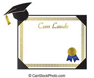 Cum Laude College Diploma with cap and tassel