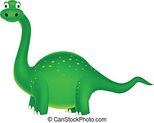 Green dinosaur - Vector illustration of cute green dinosaur