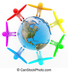 Peoples holding hands around the Earth - Multicolor peoples...