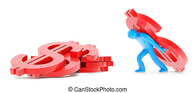 Man with dollar sign on white - Blue man figure carring red...