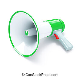 Green megaphone with red button