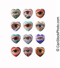 Twelve Gemstones - Twelve precious stones as heart with eyes...
