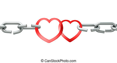 Steel chain with two joined red hearts