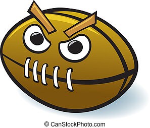 Cartoon Football - A mean, nasty, angry, beastly-looking...
