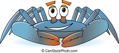 Cartoon Crab - A happy, smiling cartoon blue crab commonly...