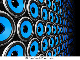 blue speakers wall - three dimensional blue speakers wall
