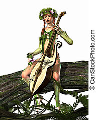 Elven Nymph - a forest nymph makes music