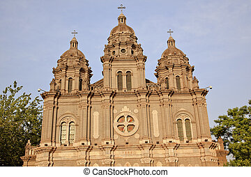 St. Joseph Wangfujing Cathedral, Basilica, Facade Church Beijing China.  Very famous Catholic Church built in 1655 and in Boxer Rebellion