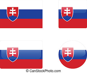 Slovakia flag and buttons - Slovakia flag buttons collection...
