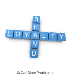 Brand loyalty 3D crossword on white background
