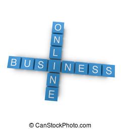 Online business 3D crossword on white background - Online...