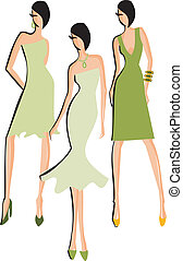 Fashion Models - A sketch of three fashion models isolated...