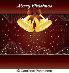 Gold christmas bells on brown - Gold christmas bells with...