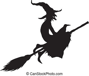 halloween witch silhouette isolated on white background
