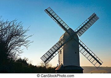 Jill windmill bathed in evening sunlight