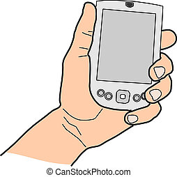 hand with pda