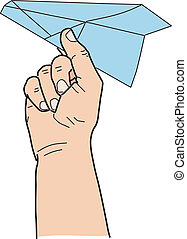 hand with paper plane