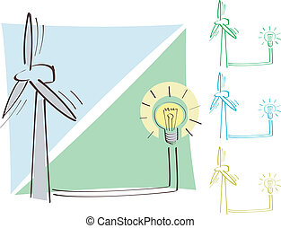 Windmill and bulb - Wind make energy. The ecologycal theme