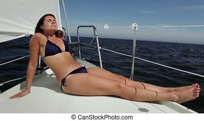 Girl on sailboat