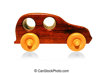 Wooden Toy Car - Isolated Wood toy car on white background