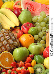 Assortment of fresh fruit - Variety of fresh ripe fruits -...