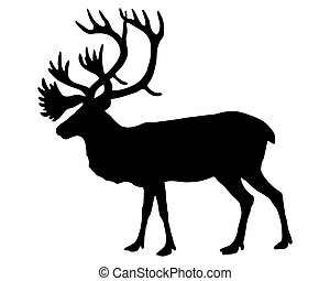 The black silhouette of a caribou on white