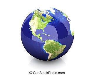 Globe - North America - 3D rendered Illustration
