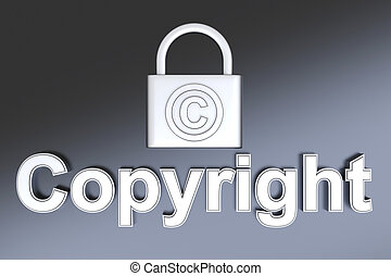 Copyright protection - Copyright symbol. 3D rendered...