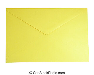 Yellow Envelope - Yellow closed envelope isolated over white...