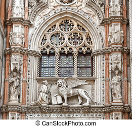 The Venetian lion and Doge, San Marco cathedral, Venice