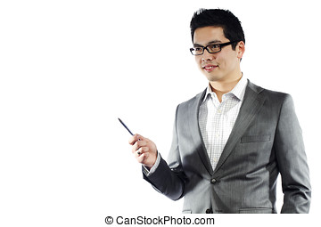 Young asian man in business attire holding pen