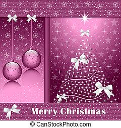 Xmas tree, balls and bows - Christmas tree, balls, bows,...