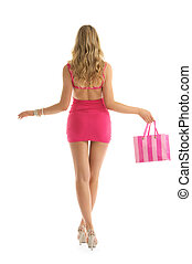 beautiful woman with rosy shopping bags on white isolated
