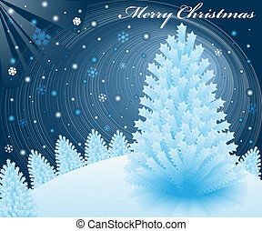 Christmas snow scene at night with blue xmas fir trees on a...