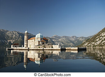 church in perast kotor bay montenegro - island church in...