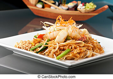 Seafood Pad Thai with Stir Fried Rice Noodles - Seafood pad...