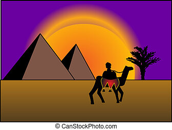 on background of the pyramids