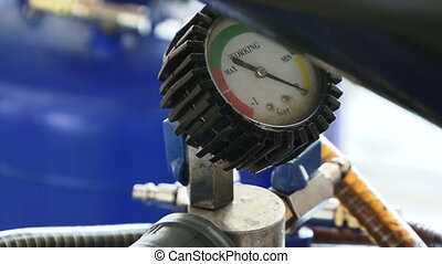 Gas pressure - The sensor on the gas cylinder shows that it...