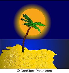 palm on island at sundown - illustration palm on island at...