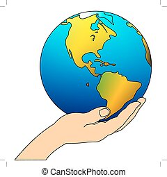 hand carefully keeps globe - illustration feminine hand...
