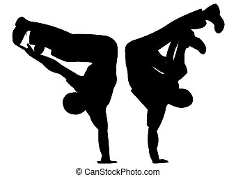 two silhouettes in dance - illustration two silhouettes in...