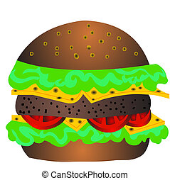 The Hamburger with cheese, tomato and salad