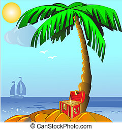 island with palm and coffer with golden - illustration...